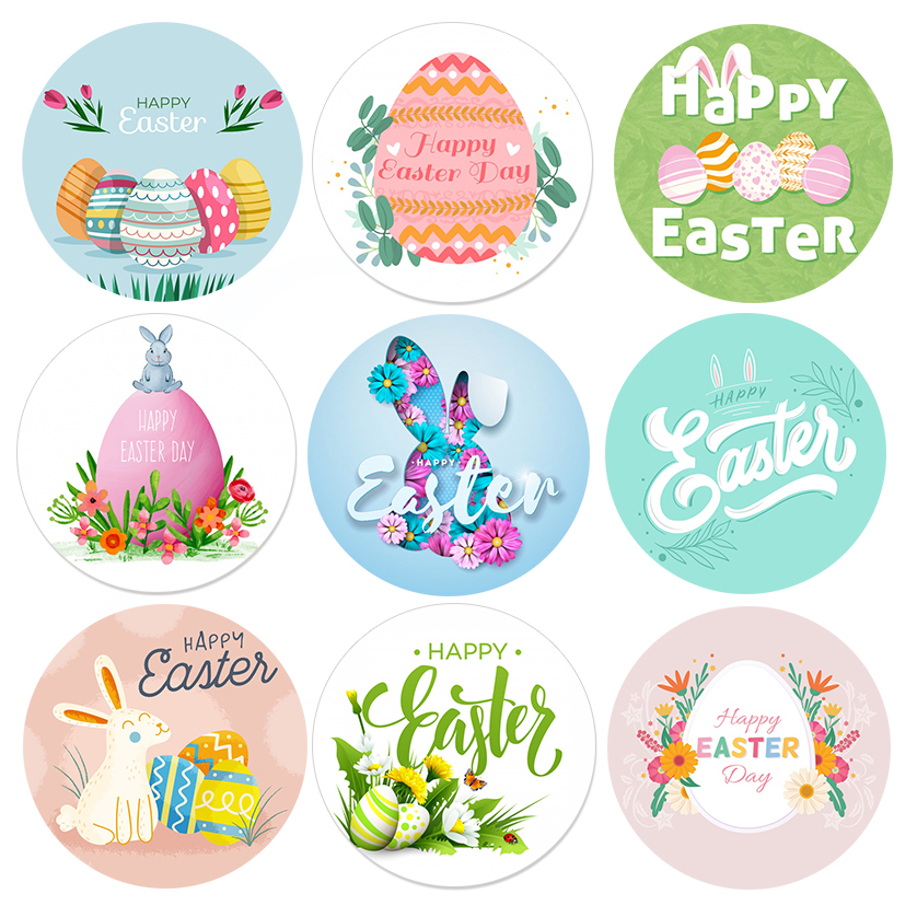 24/48pcs Happy Easter Sticker Cake Baking Egg Rabbit Paper Sticker Labels Easter Party Gift Bag Box Envelope Seal Decoration