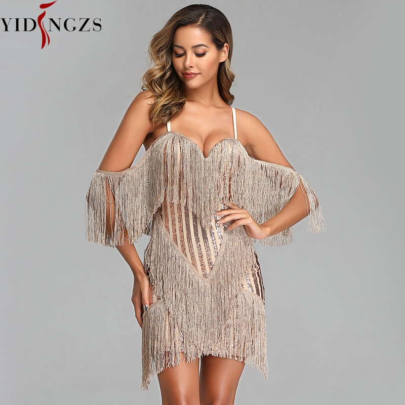 YIDINGZS Sexy Evening Party Dress Fashion Women Sequin Tassel Short Prom Dress YD316