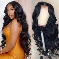 Cuerpo onda de encaje frente pelucas de cabello humano indio Remy pelo ondulado peluca 150% densidad Frontal de encaje pelucas para mujeres negras cierre 4x4 peluca