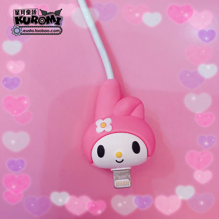 Lovely Pink Cartoon Melody Charger Cable Winder Data Line Cord Protector Wire Cover