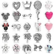 Классическое подлинное серебро 925 пробы, бесконечный бусина-Шарм в форме сердца, ожерелье pandora, плавающий медальон, подвеска, коробка, сделай...