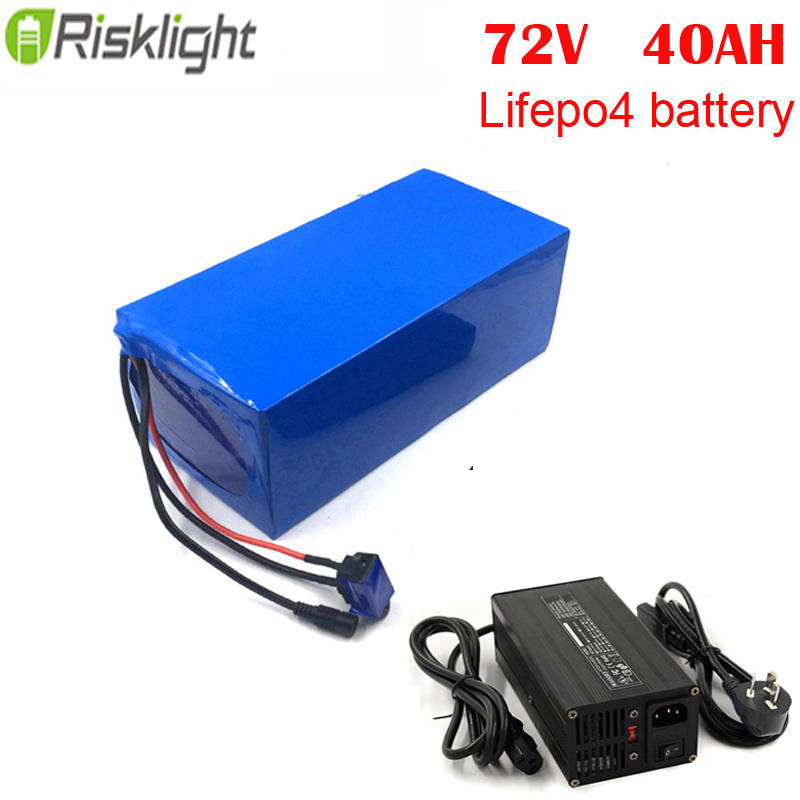 Customized 72v 2800w electric motorcycle battey 72v 40ah Lifepo4 electric bike battery pack  with 5A charger and 50A BMS