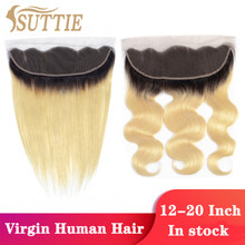 Suttie Hair 1b613 Blonde Straight 13x4 Lace Frontal 613 Honey Blond Body Wave Raw Virgin Remy Human Hair Front for Black Women