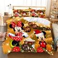 Natal mickey minnie jogo de cama capa edredon fronha casa têxtil adulto crianças presente rainha tamanho do rei conjunto