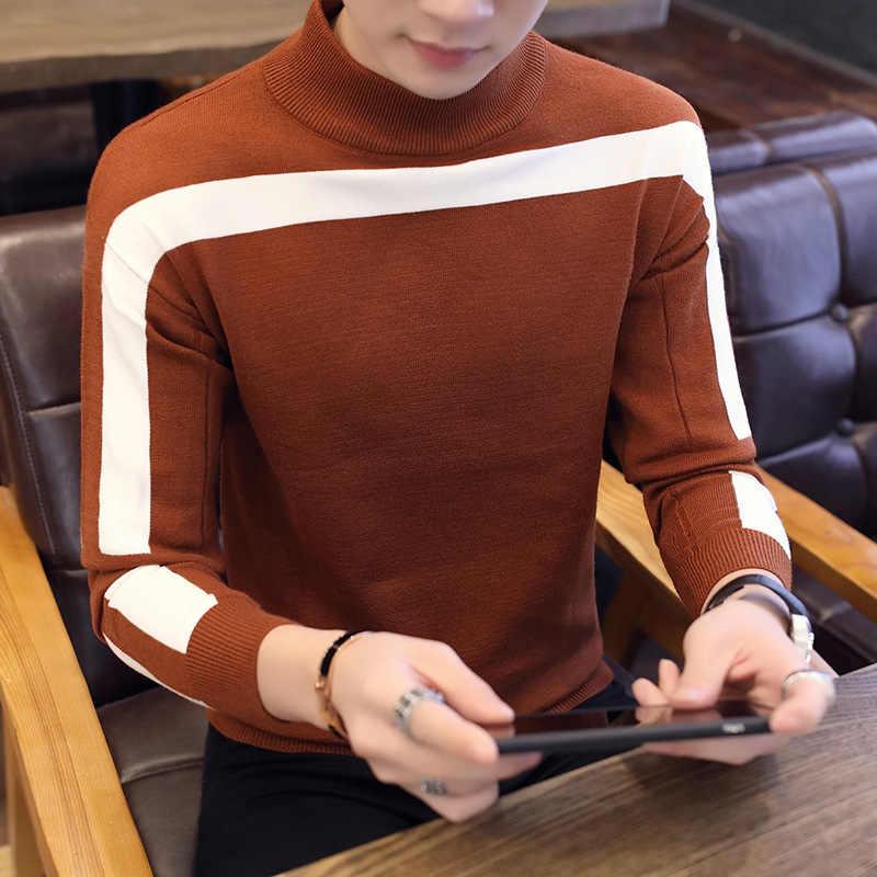 2019 새로운 가을 겨울 캐주얼 풀오버 남성 긴 소매 슬림 맞는 터틀넥 니트 브랜드 스웨터 패션 망 따뜻한 스웨터
