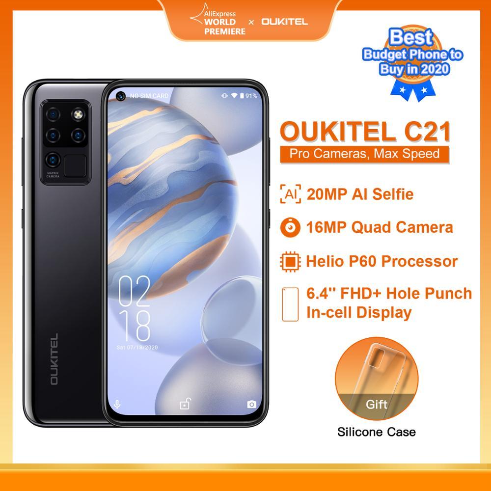OUKITEL C21 Smart Phone Helio P60 Quad Camera 20MP Selfie 6.4'' FHD+ Hole Punch Screen 4000mAh Octa Core 4GB+64GB