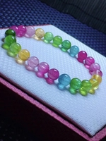 Natural Colorful Tourmaline Crystal Clear Round Beads Bracelet 7.5mm Women Crystal Jewelry Candy Tourmaline AAAAAAA 2