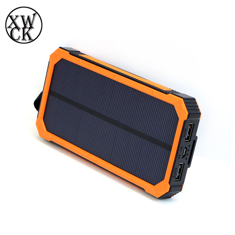 <font><b>Solar</b></font> <font><b>Power</b></font> <font><b>Bank</b></font> <font><b>20000mah</b></font> 2 USB <font><b>External</b></font> <font><b>Battery</b></font> LED outdoor Portable Powerbank Mobile Phone <font><b>Solar</b></font> Charger for smart phone image