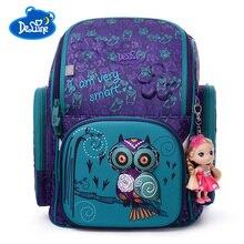 цены 2019 Delune Brand School Bgas For Boys Girls Cartoon School Bag 3D Owl Waterproof Orthopedic Schoolbag Primary School Backpack