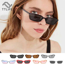 TTLIFE Vintage Sunglasses Women Men Brand Designer Small Retro Shades Yellow Pink Sunnies Sunglasses-Women Rectangle Glasses