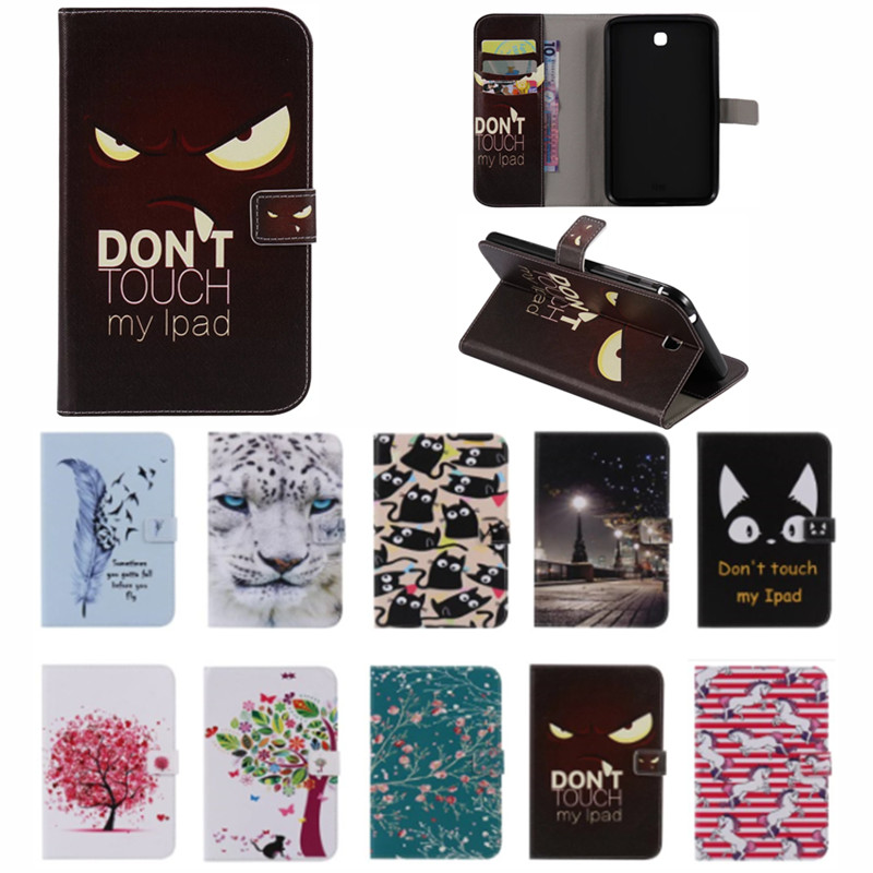 Nette Cartoon Karte Slot Ständer Flip PU Leder Coque Fall Für <font><b>Samsung</b></font> <font><b>Galaxy</b></font> <font><b>Tab</b></font> <font><b>3</b></font> 7,0