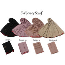 Knitted Scarf Jersey Hijab Redline Lined-Color Mix-Design Muslim Wraps Arab Lady's-Turban