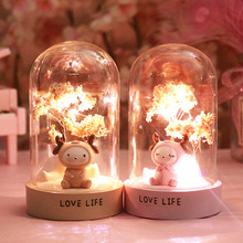 Creative Cherry Blossom Cute Star Lights Night Light Girl Room Warm Decoration Crafts Resin Christmas Gifts Home Decoration cute sleeping piglet led night light table lamp creative resin pig crafts children birthday girl s friends gifts home decoration