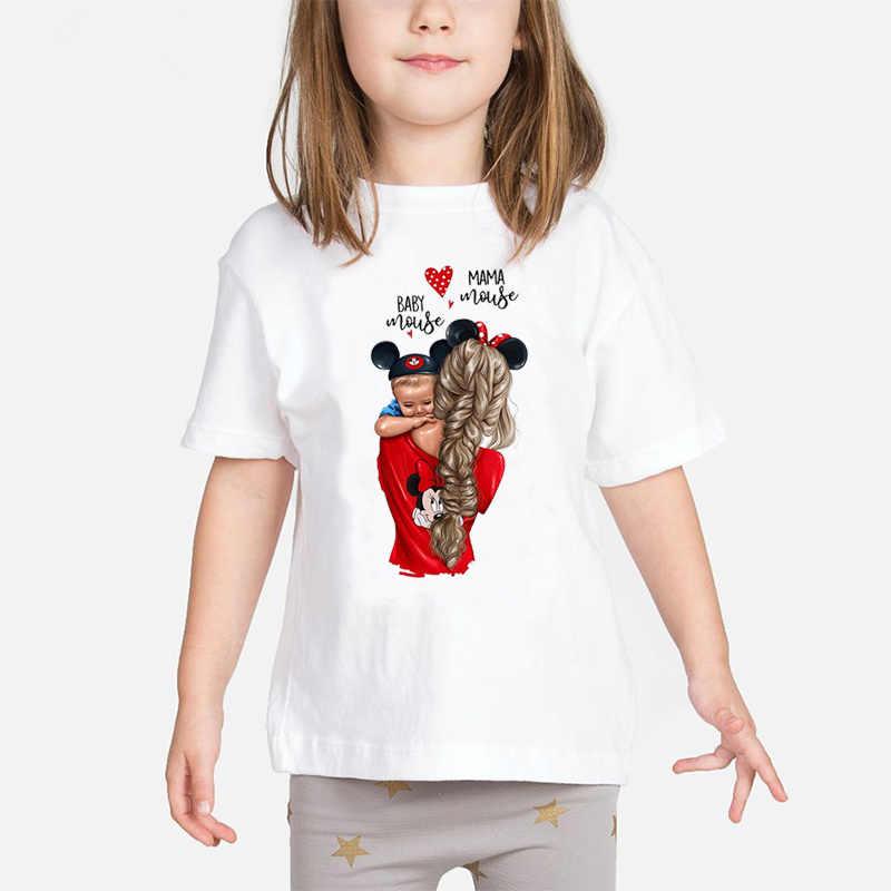 スーパーママベビーガールズ Tシャツ母と赤ちゃん愛の生活流行かわいいプリント Tシャツママの愛の子供たち白服子供トップス
