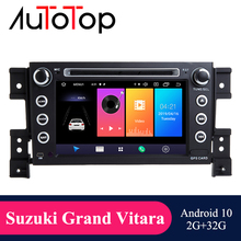 """AUTOTOP 7 """"2din Android 10 coche Multimedia reproductor de DVD para Suzuki Grand Vitara 2006 2011 navegación GPS Radio RDS Wifi Mirrorlink"""