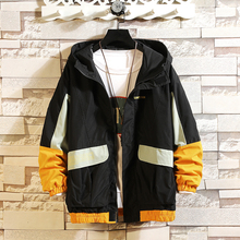 Autumn New Hooded Jacket Men Fashion Contrast Color Stitching Casual T