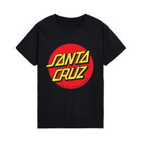 Camiseta estampada con Logo redondo de Santa Cluz, camiseta informal de manga corta de algodón con cuello redondo, ropa holgada