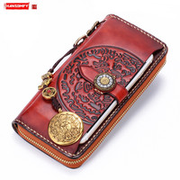 New Men and Women Long Wallet Retro Leather Phone Clutch Bag Genuine Leather Purse Jiugong Card Holder Wallet Sterling Silver