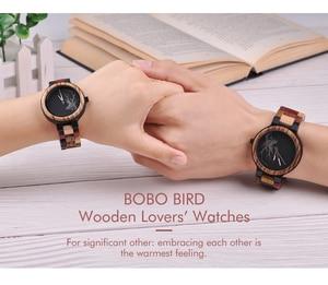 Image 2 - BOBO BIRD Couple Wooden Watches Men Women Quartz Lovers Wrist watch Ladies Elk Deer Quartz Wrist Watch gift erkek kol saati