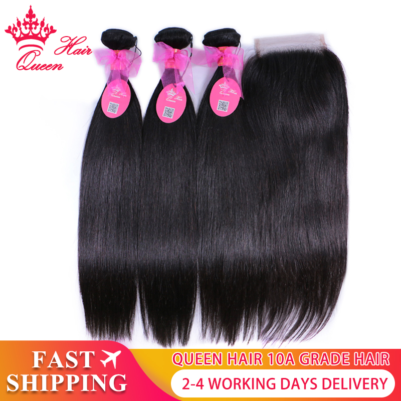 Queen Hair Official Store Brazilian Straight Bundles With Closure 5x5 100% Human Virgin Hair Extension Transparent Lace Products