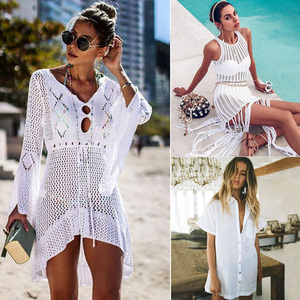 Sexy Cover Up Bikini Women Swimsuit Cover-up Beach Bathing Suit Beach Wear Knitting Swimwear Mesh Beach Dress Tunic Robe(China)