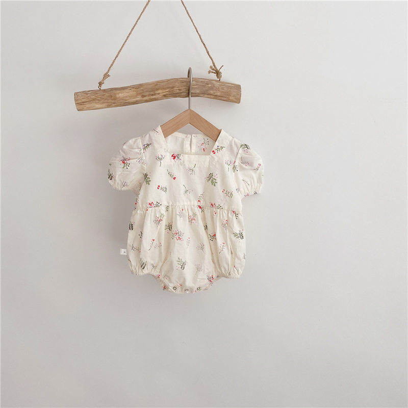 Summer New Baby Girls Siamese Clothes Floral Triangle Crawling Clothes Flying <font><b>Sleeve</b></font> Printed Romper Baby <font><b>Bodysuit</b></font> image