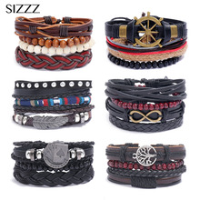 Adjustable Leather Bracelet Set Men Women Casual Jewelry Rudder Star Charm Wristband Punk Holiday Party Tribal Vintage Bangles