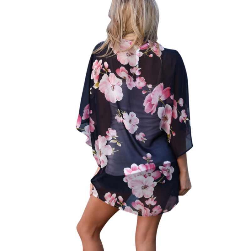 Delle donne di Estate Camicetta Magliette E Camicette 2020 Vintage Stampa Floreale Camicia In Chiffon Kimono Cardigan Vedere Attraverso Beach Wear Allentato Abbigliamento Femminile