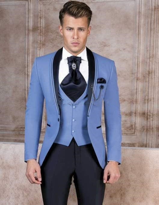 Handsome One Button Groomsmen Shawl Lapel Groom Tuxedos Men Suits Wedding/Prom Best Man Blazer ( Jacket+Pants+Tie+Vest) 961