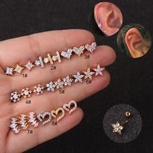 Small Hoop Heart Star Flower Tragus Cartilage Ear Piercing S
