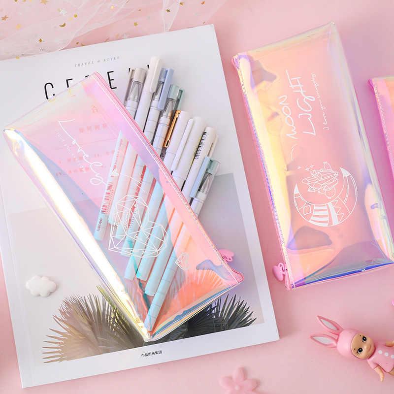 1 adet sevimli elmas kalem kutusu Kawaii kalem çantası yaratıcı lazer kalem kutusu kızlar için hediyeler okul ofis malzemeleri kırtasiye