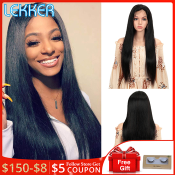 Lekker hair Straight Lace Front Wig 13X4 Lace Front Human Gair Wigs Pre Plucked Human Hair Wigs Remy Hair for Black Women straight human hair wigs pre plucked peruvian 13x4 lace front wig 150 dens middle part remy lace front human hair wigs for women