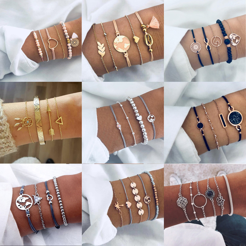 Tocona Bohemian Beads Chain Bracelets Bangles for Women Fashion Vintage Heart Compass Gold Color Chain Bracelets Sets Jewelry(China)