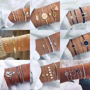Tocona Bohemian Beads Chain Bracelets Bangles for Women Fashion Vintage Heart Compass Gold Color Chain Bracelets Sets Jewelry(China)