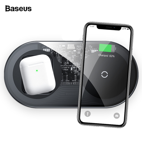 Baseus 2 in 1 Qi Wireless Charger For Airpods iPhone 11 Pro Xs Max XR X 15W Fast Wireless Charging Pad For Samsung Note 10 S10 Pakistan