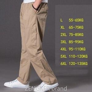 Image 5 - Lente zomer casual broek mannelijke big size 6XL Multi Pocket Jeans oversized Broek overalls elastische taille broek plus size mannen