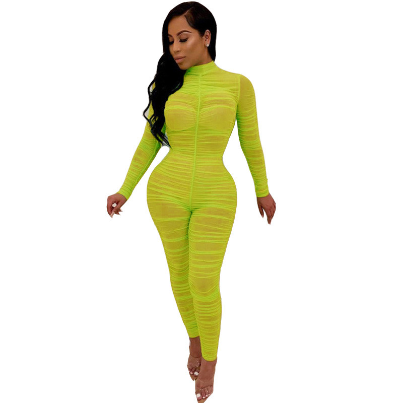 2019 Ruched Mesh Sheer Sexy Bodycon Jumpsuit Women See Through Long Sleeve Party Club Rompers Womens Jumpsuit One Piece Overalls