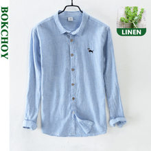 Vintage Men Shirts Cotton and Linen Long-sleeved Shirt Spring and Autumn 2020 New Style Stripe Embroidered Cute Dog
