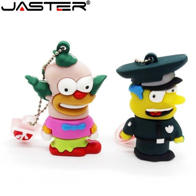 JASTER Bart Simpson Mouse Wolf 4GB 8GB 32GB 64GB Memory Stick U Disk Pen Drive homer Pendrive USB Flash Drive