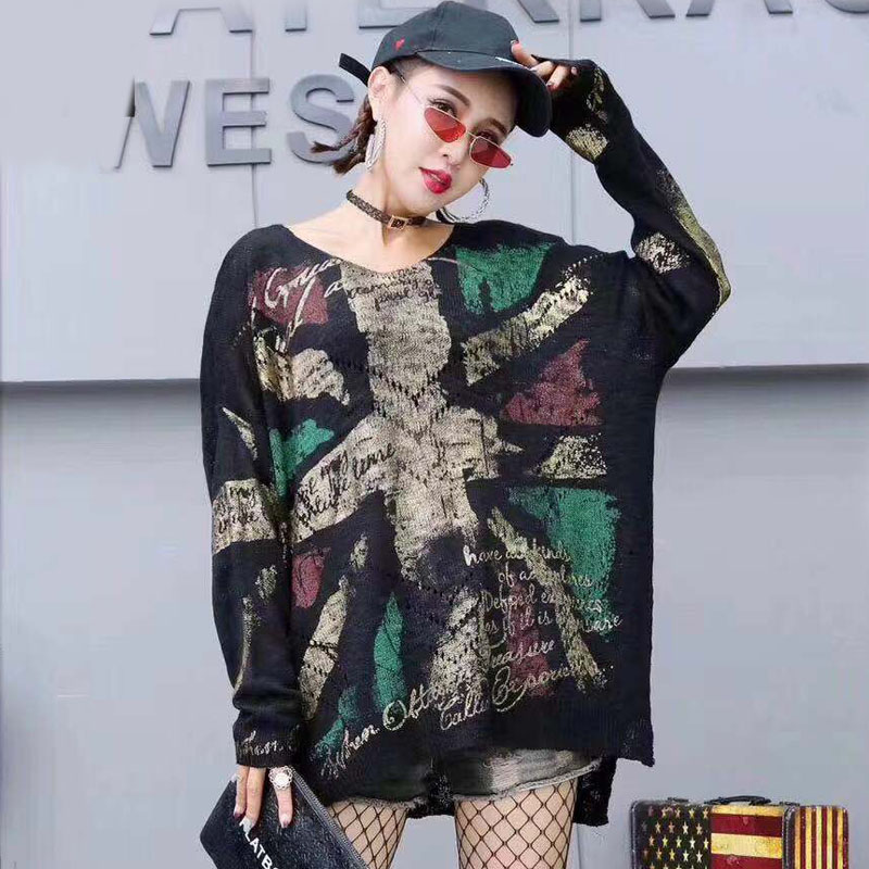 Womens Tops Outwear Rock Size-Sweater Punk Hollow-Out New-Fashion Autumn Full-Sleeve