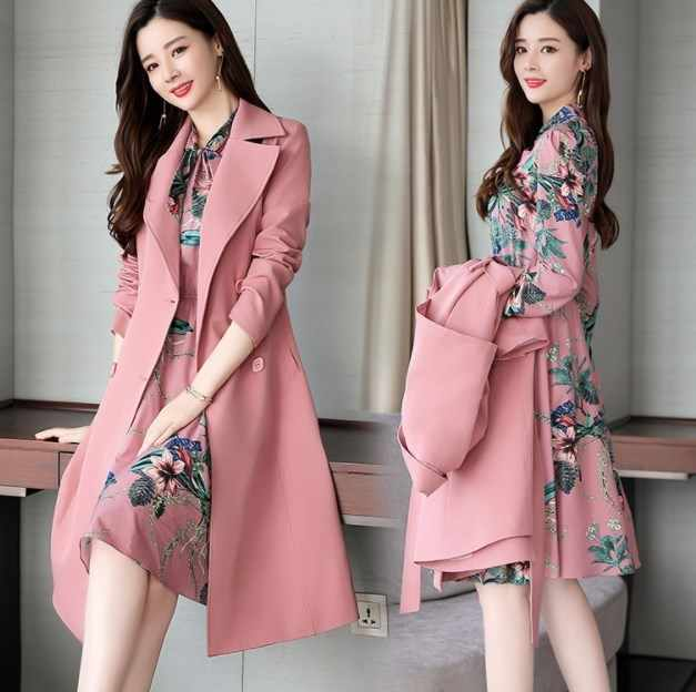 Spring Autumn Ladies Dress Suits for Office Wear Long Trench Coat and Knee Length Dress 2 Piece Set Women Formal Dresses Suit