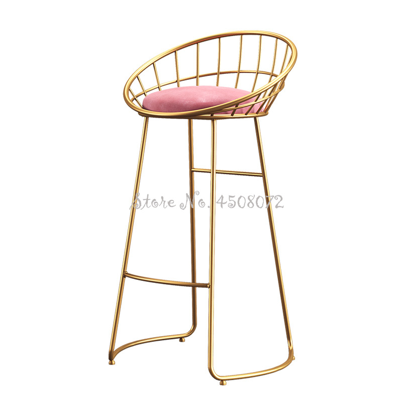 65cm Color Seat Creative Bar Chair  Home High Stool Cafe Bar Chair Backrest Wrought Iron Nordic Modern Bar Stool Pink Fannal Pad