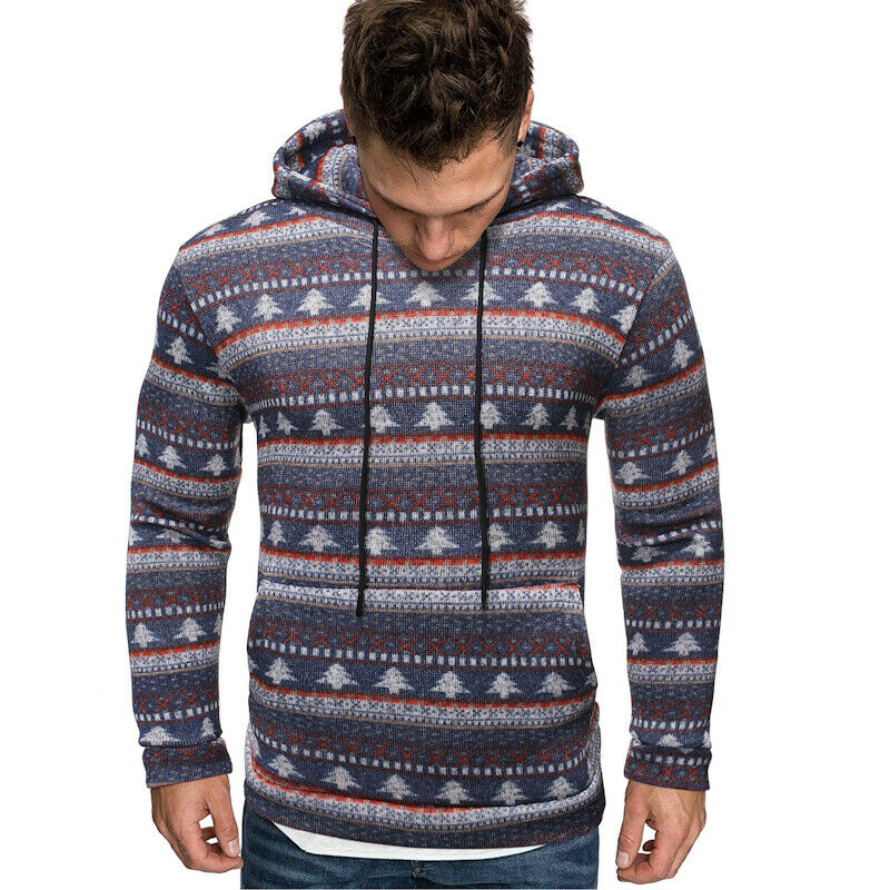 UK Men's Warm Hoodie Hooded Sweatshirt Knitted Slim Coat Jacket Outwear Jumper Winter Sweater Christmas Trees Print New