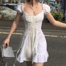 2020 costura retro orejas de madera encaje Cruz con lazo manga corta Vestido corto para mujer blanco francés Mini vestidos vacaciones