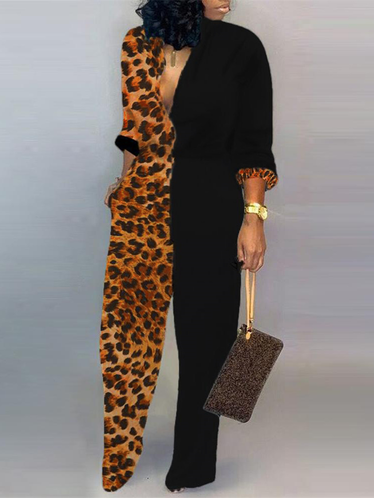 2019 Autumn Women Elegant Plus Size 3XL V Neck Casual Jumpsuits Female Party Leisure Plunge Colorblock Insert Leopard Jumpsuit