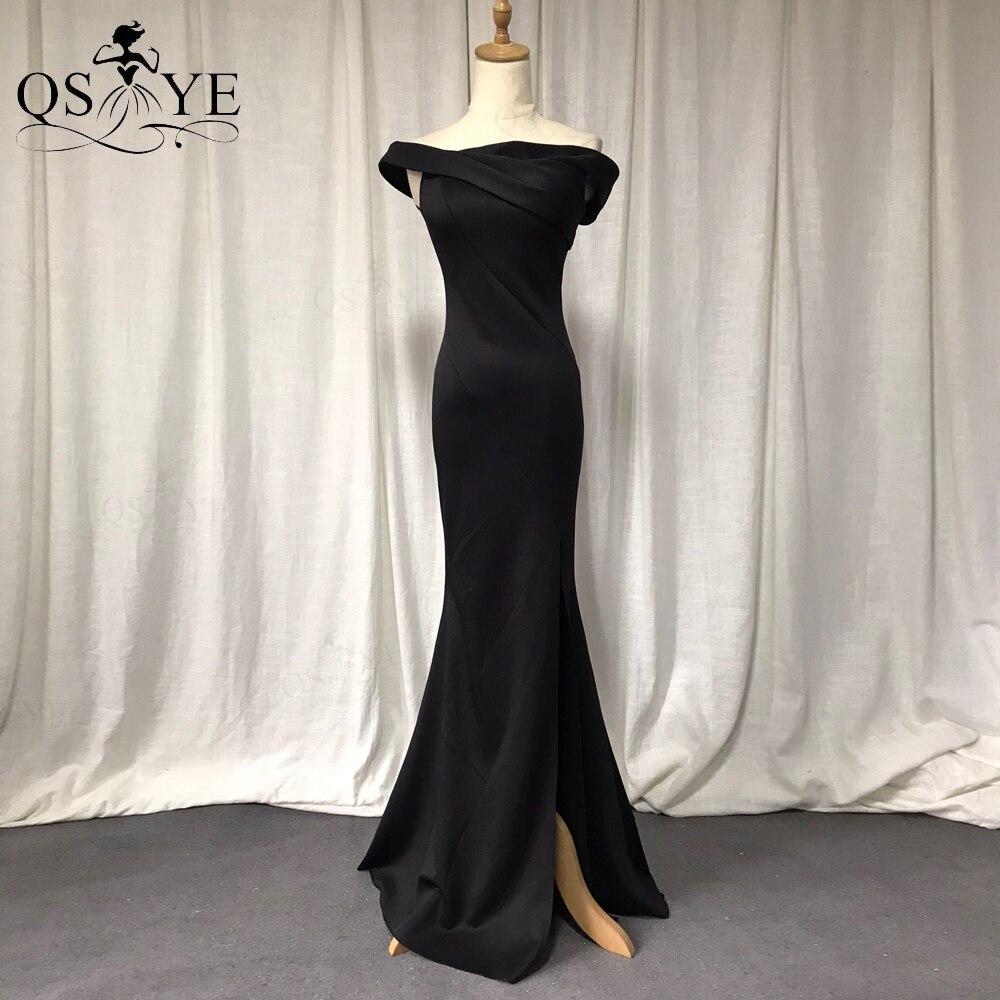 QSYYE Black Evening Dresses Elastic Mermaid Off the Shoulder Split Formal Gown...