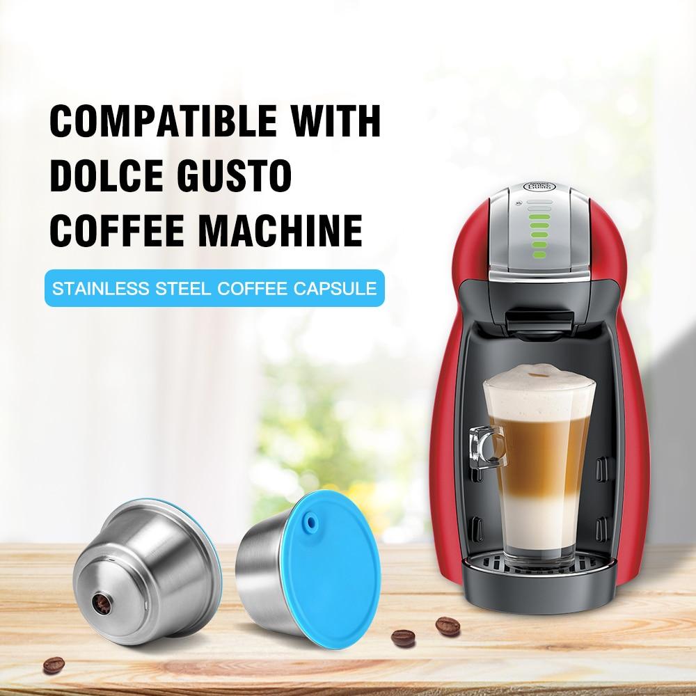 إعادة الملء القهوة كبسولة ل دولتشي غوستو قابلة لإعادة الاستخدام الفولاذ المقاوم للصدأ تصفية كوب ل نسكافيه البن آلة كريما صانع|Coffee Filters| - AliExpress