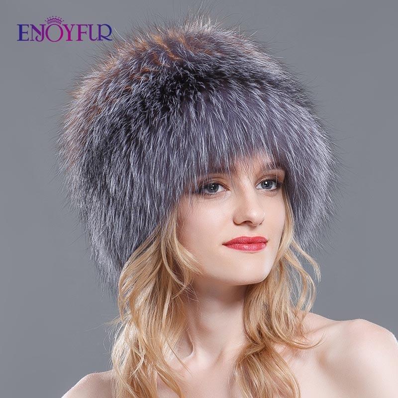 Women winter fur hats genuine fox fur knitted beanies new hot Russian style super elastic high