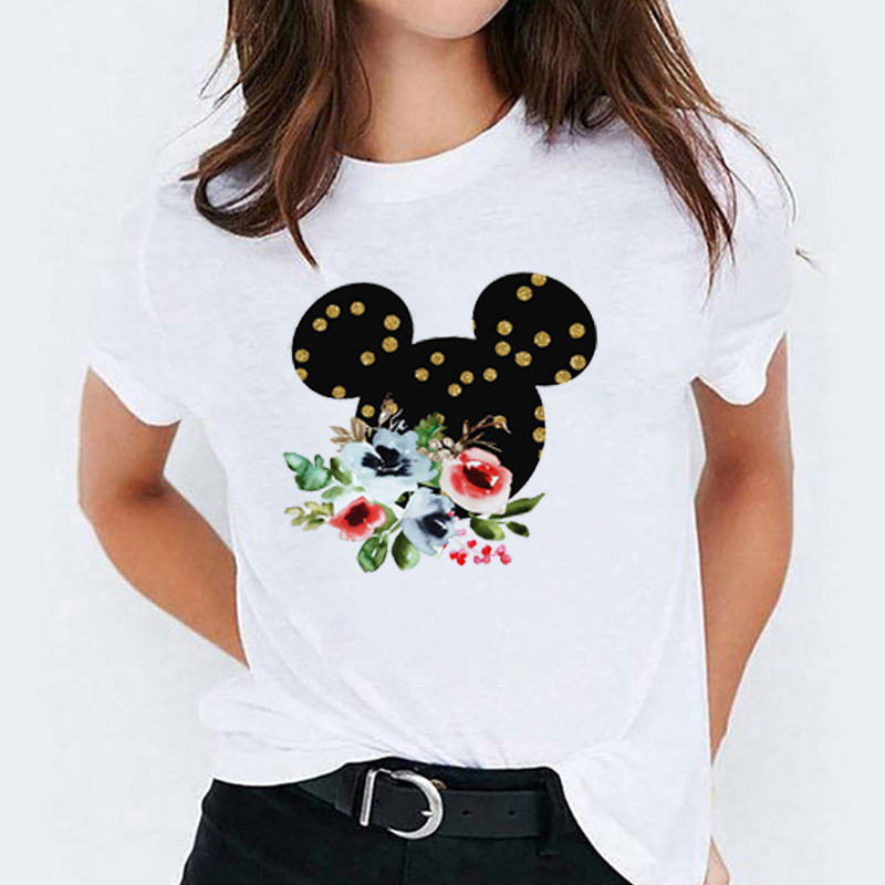 Women Print Cartoon Cute Flower Floral Ear Lady Womens T-Shirt  Graphic Tees Print Female Camisas Mujer T Shirt T-shirts