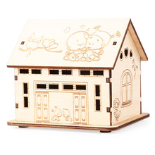 Wooden cabin environmental protection change piggy Banks receive toys children early instructive and intelligence